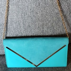 Aldo teal and gold envelope clutch and cross body
